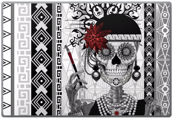 Flapper Girl Sugar Skull - Mrs Gloria Vanderbone - Day of the Dead - 1920's Art Deco Laptop Vinyl Skin Decal - Laptop Skin Decal - Fusion Idol Arts - New Mexico Artist Christopher Beikmann