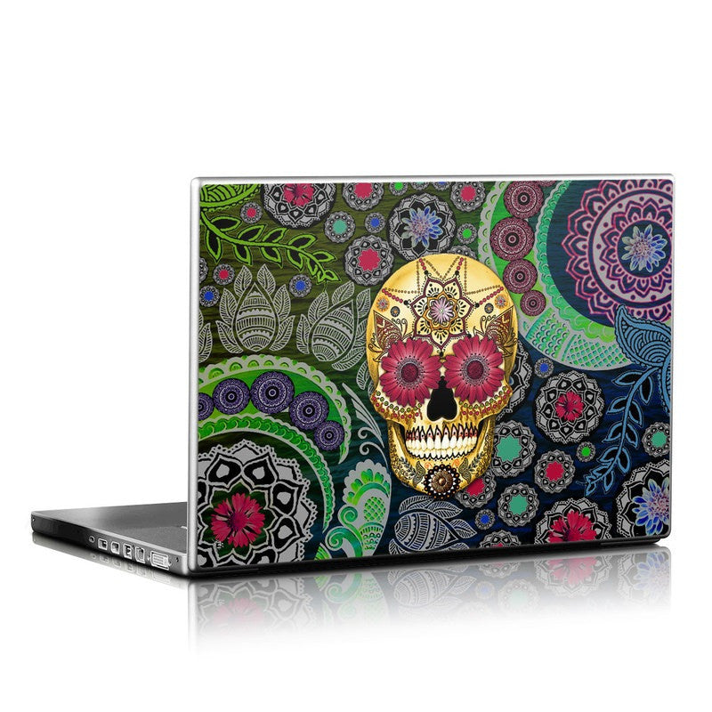 Colorful Sugar Skull Paisley Garden - Day of the Dead - Floral Skull Laptop Vinyl Skin Decal - Laptop Skin Decal - 1