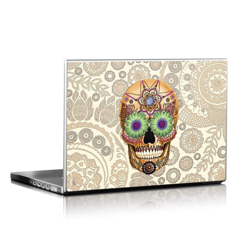 Sugar Skull Bone Paisley - Day of the Dead - Calavera / Skull Laptop Vinyl Skin Decal - Laptop Skin Decal - Fusion Idol Arts - New Mexico Artist Christopher Beikmann