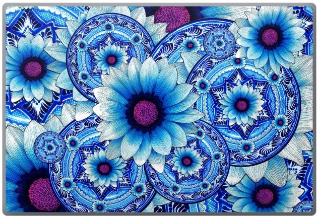 Blue Floral Laptop Vinyl Skin Decal - Talavera Alejandra - Fusion Idol Arts
