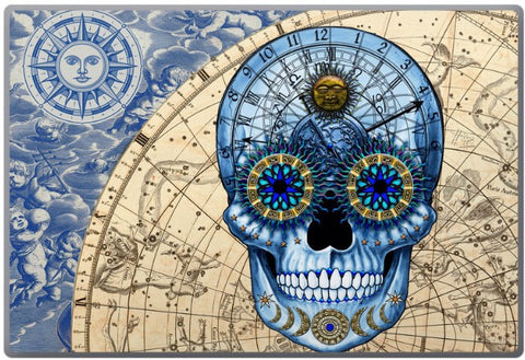 Astrologiskull - Astrological Sugar Skull - Day of the Dead - Steampunk Astrology Skull Laptop Vinyl Skin Decal - Fusion Idol Arts