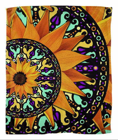 Colorful Sunflower Floral Fleece Blanket - Sunflower Talavera - Fleece Blanket - Fusion Idol Arts - New Mexico Artist Christopher Beikmann