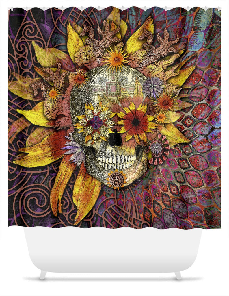 Origins Botaniskull Shower Curtain - Sun Flower Sugar Skull - Shower Curtain - Fusion Idol Arts - New Mexico Artist Christopher Beikmann