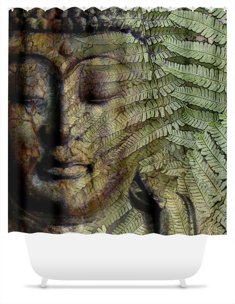 Green and Brown Fern Buddha Shower Curtain - Convergence of Thought, Shower Curtain - Christopher Beikmann