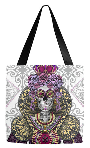 Renaissance Sugar Skull Queen Tote Bag - Mary Queen of Skulls - Tote Bag - Fusion Idol Arts - New Mexico Artist Christopher Beikmann
