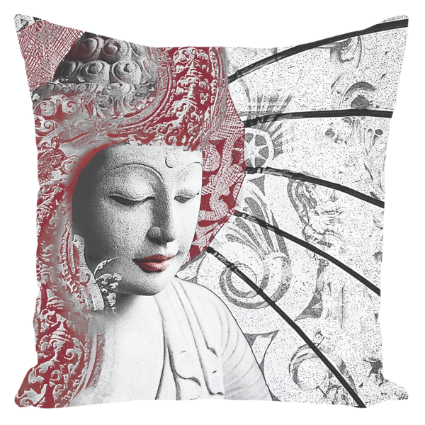 Bliss of Being - Red - Buddha Art Throw Pillow -  - Fusion Idol Arts - New Mexico Artist Christopher Beikmann