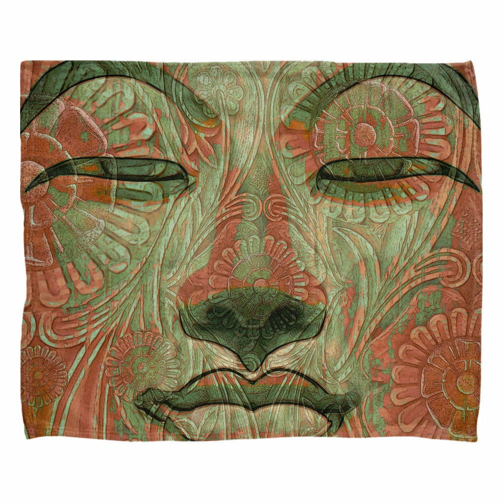 Green and Orange Buddha Face Fleece Blanket - Manifestation of Mind - Fleece Blanket - Fusion Idol Arts - New Mexico Artist Christopher Beikmann