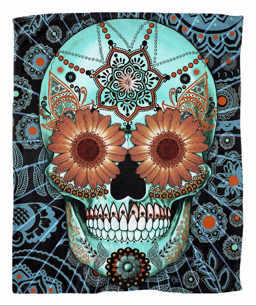 Blue and Orange Sugar Skull Fleece Blanket - Caribbean Blue - Fleece Blanket - Fusion Idol Arts - New Mexico Artist Christopher Beikmann