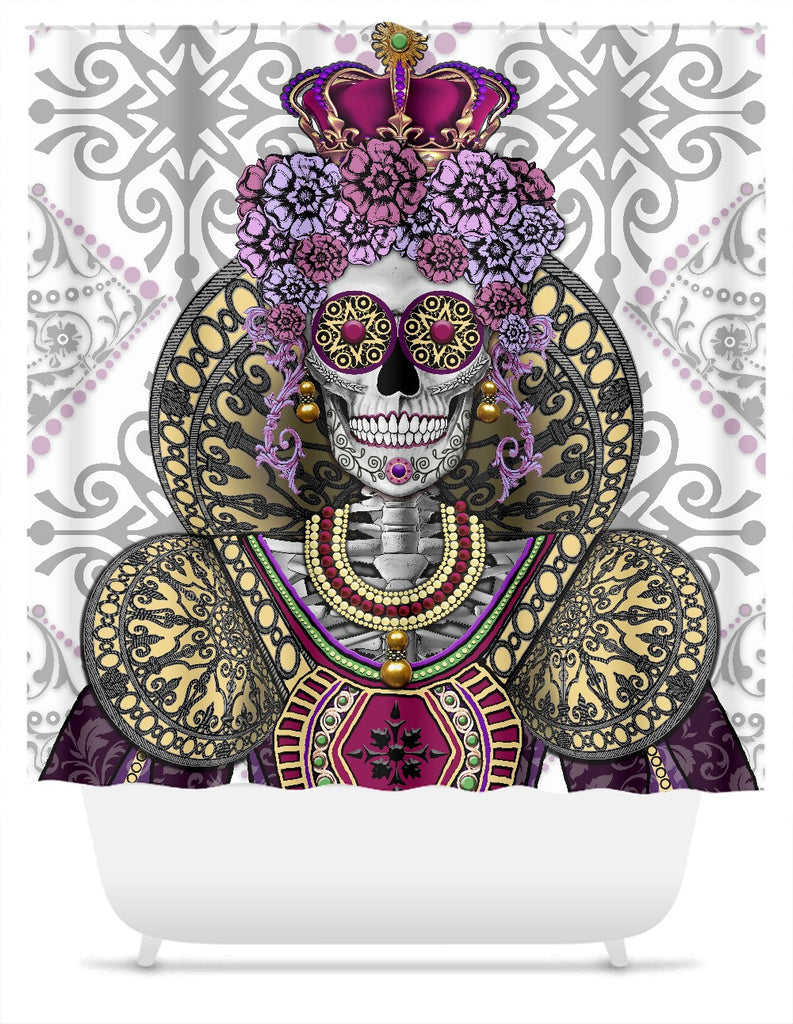 Day of the Dead Skull Queen Shower Curtain - Mary Queen of Skulls - Shower Curtain - Fusion Idol Arts - New Mexico Artist Christopher Beikmann