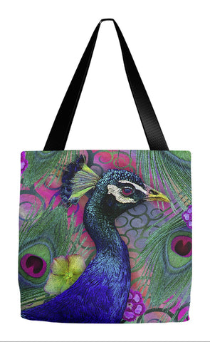 Peacock Colorful Floral Tote Bag - Nemali Dreams - Tote Bag - Fusion Idol Arts - New Mexico Artist Christopher Beikmann