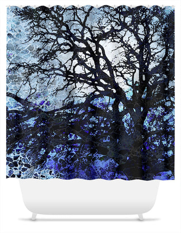 Abstract Blue Tree Silhouette Shower Curtain - Moonlit Night - Fusion Idol Arts