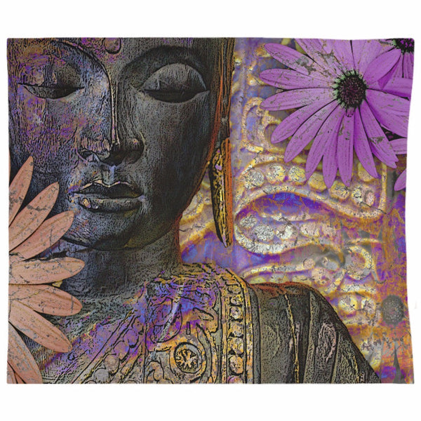 Jewels of Wisdom - Black Buddha Tapestry with African Daisy Flowers - Tapestry - Fusion Idol Arts - New Mexico Artist Christopher Beikmann
