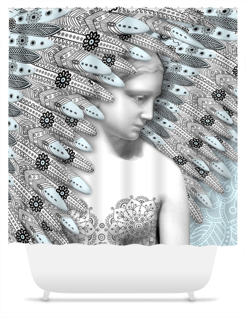 Angel of Winter Shower Curtain - Blue and Gray Paisley Goddess Art - Shower Curtain - Fusion Idol Arts - New Mexico Artist Christopher Beikmann