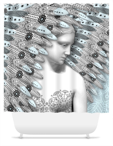 Angel of Winter Shower Curtain - Blue and Gray Paisley Goddess Art - Fusion Idol Arts