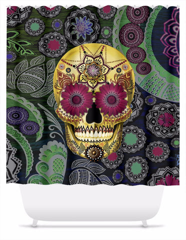 Colorful Floral Sugar Skull Shower Curtain - Sugar Skull Paisley Garden - Shower Curtain - Fusion Idol Arts - New Mexico Artist Christopher Beikmann