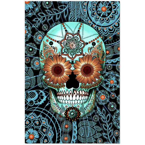 Blue and Orange Paisley Day of The Dead Art Canvas - Sugar Skull Caribbean Blue - Premium Canvas Gallery Wrap - Fusion Idol Arts - New Mexico Artist Christopher Beikmann