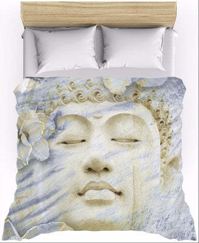 Tan and Blue Zen Buddha Duvet Cover - Inner Infinity - Fusion Idol Arts