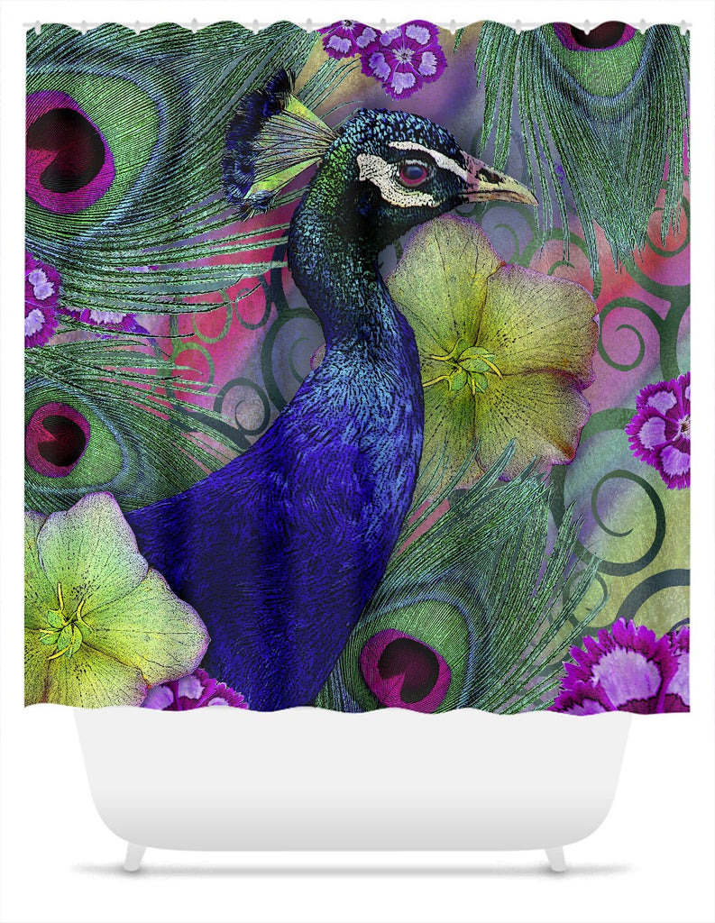 Colorful Peacock Floral Shower Curtain - Nemali Dreams - Fusion Idol Arts