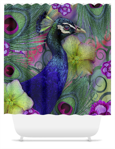 Colorful Peacock Floral Shower Curtain - Nemali Dreams - Shower Curtain - Fusion Idol Arts - New Mexico Artist Christopher Beikmann