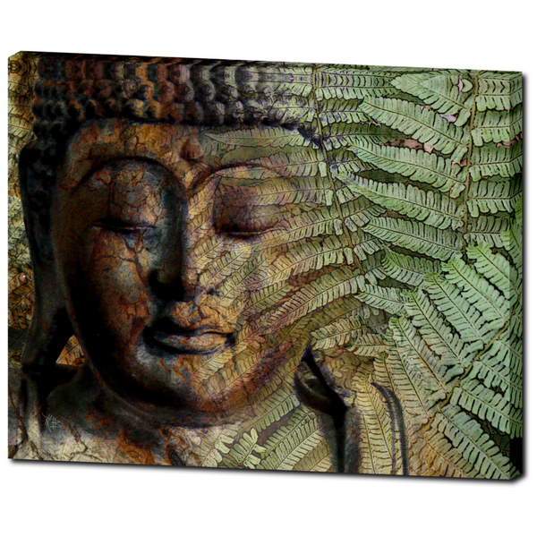 Green Fern Buddha Art - Canvas Print - Solid Surface - Convergence of Thought - Fusion Idol Arts