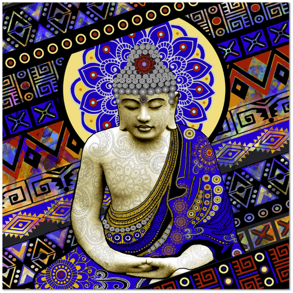 Colorful Tribal Buddha Art Canvas - Modern Buddha Artwork - Rhythm of My Mind - Fusion Idol Arts