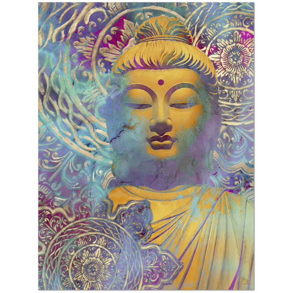 Colorful Buddha Art Canvas - Modern Zen Decor - The Light of Truth, Premium Canvas Gallery Wrap - Christopher Beikmann