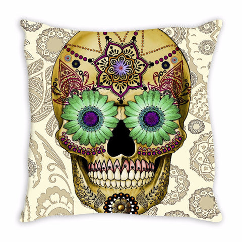 Tan Paisley Day of The Dead Throw Pillow - Sugar Skull Bone Paisley - Throw Pillow - Fusion Idol Arts - New Mexico Artist Christopher Beikmann