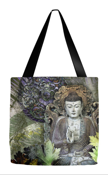 Fall Color Buddha Art Tote Bag - Autumn Wisdom - Tote Bag - Fusion Idol Arts - New Mexico Artist Christopher Beikmann