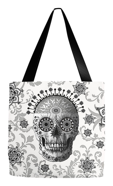 Black and White Paisley Sugar Skull Tote Bag - Victorian Bones - Tote Bag - Fusion Idol Arts - New Mexico Artist Christopher Beikmann