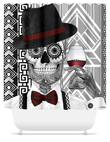 1920's Day of the Dead Sugar Skull Shower Curtain - Mr JD Vanderbone - Shower Curtain - Fusion Idol Arts - New Mexico Artist Christopher Beikmann