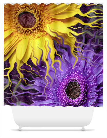 Purple and Yellow Abstract Floral Shower Curtain - Daisy Yin Daisy Yang - Shower Curtain - Fusion Idol Arts - New Mexico Artist Christopher Beikmann
