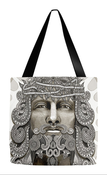 Paisley Jesus Art Tote Bag - Modern Christian Iconography - Reedemer - Tote Bag - Fusion Idol Arts - New Mexico Artist Christopher Beikmann