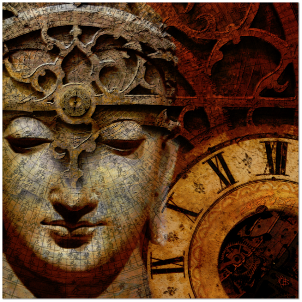 Esoteric Steampunk Buddha Art Canvas - The Illusion of Time - Premium Canvas Gallery Wrap - Fusion Idol Arts - New Mexico Artist Christopher Beikmann