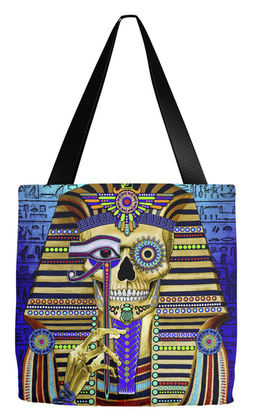 Egyptian Sugar Skull Tote Bag - Day of the Dead - Funky Bone Pharaoh - Tote Bag - Fusion Idol Arts - New Mexico Artist Christopher Beikmann