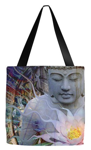 Buddha and Lotus Flower Tote Bag - Living Radiance - Tote Bag - Fusion Idol Arts - New Mexico Artist Christopher Beikmann