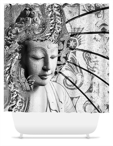 Black and White Buddha Shower Curtain - Bliss of Being - Shower Curtain - Fusion Idol Arts - New Mexico Artist Christopher Beikmann