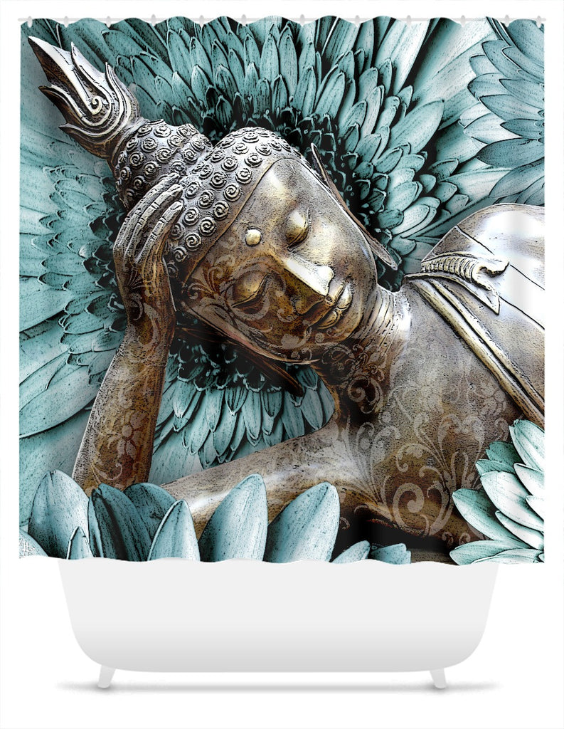 Reclining Floral Buddha Shower Curtain - Mind Bloom, Shower Curtain - Christopher Beikmann