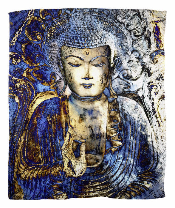 Blue Buddha Fleece Blanket - Inner Guidance - Fleece Blanket - Fusion Idol Arts - New Mexico Artist Christopher Beikmann