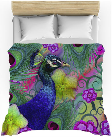 Colorful Peacock Floral Duvet Cover - Nemali Dreams - Duvet Cover - Fusion Idol Arts - New Mexico Artist Christopher Beikmann