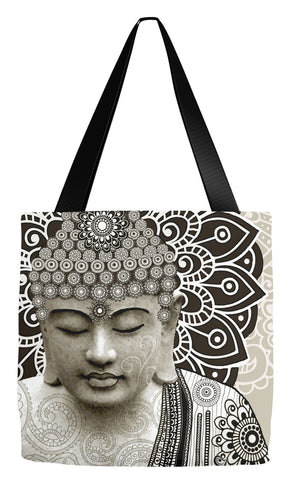 Paisley Buddha Art Tote Bag - Meditation Mehndi - Tote Bag - Fusion Idol Arts - New Mexico Artist Christopher Beikmann