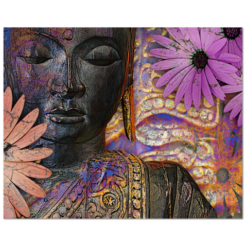 Purple and Orange Floral Buddha Art Canvas - Jewels of Wisdom - Fusion Idol Arts
