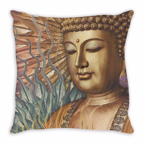 Buddha Throw Pillow - Orange, Teal and Lavender - Proliferation of Peace - Throw Pillow - Fusion Idol Arts - New Mexico Artist Christopher Beikmann