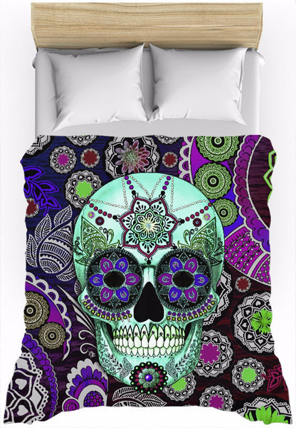 Purple Paisley Sugar Skull Duvet Cover - Sugar Skull Sombrero Night - Duvet Cover - Fusion Idol Arts - New Mexico Artist Christopher Beikmann