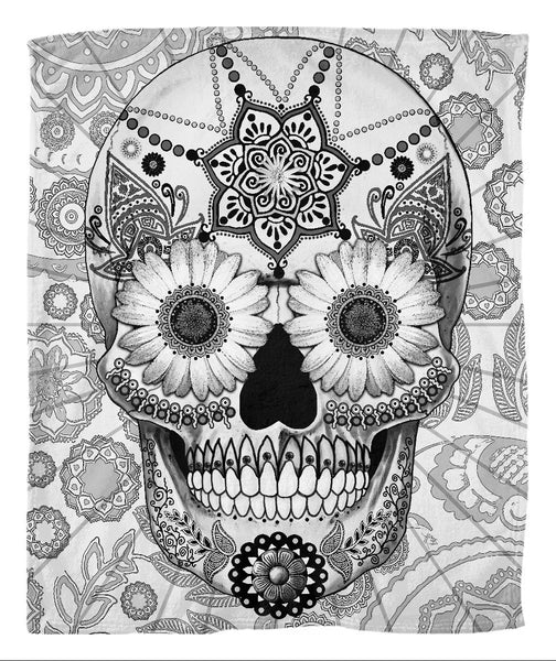 Black and White Day of the Dead Fleece Blanked - Sugar Skull Bleached Bones - Fleece Blanket - Fusion Idol Arts - New Mexico Artist Christopher Beikmann