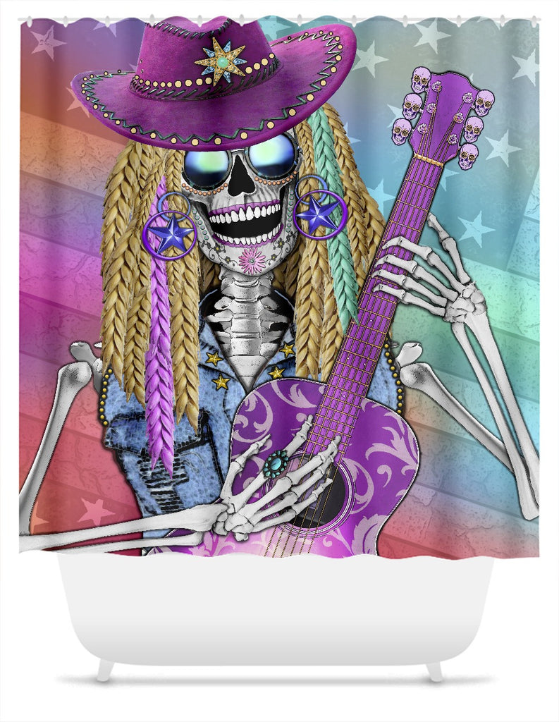 Country Western Diva Sugar Skull Shower Curtain - Scary Underwood - Shower Curtain - Fusion Idol Arts - New Mexico Artist Christopher Beikmann