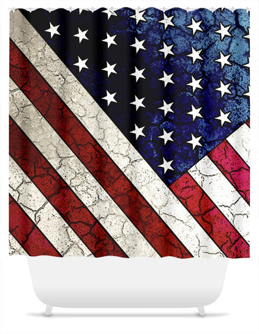 American Flag Shower Curtain - Vintage Crack Texture USA Flag - Stars and Stripes - Fusion Idol Arts