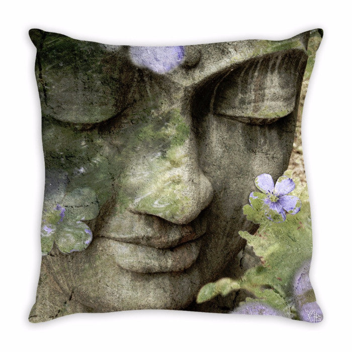 Sage Green Buddha Art Throw Pillow - Inner Tranquility - Throw Pillow - Fusion Idol Arts - New Mexico Artist Christopher Beikmann