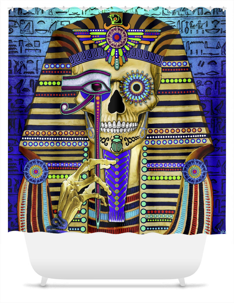 Egyptian Day of The Dead Shower Curtain - Funky Bone Pharaoh - Shower Curtain - Fusion Idol Arts - New Mexico Artist Christopher Beikmann