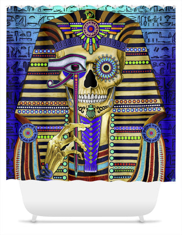 Egyptian Skull Day of The Dead Shower Curtain - Funky Bone Pharaoh - Shower Curtain - Fusion Idol Arts - New Mexico Artist Christopher Beikmann