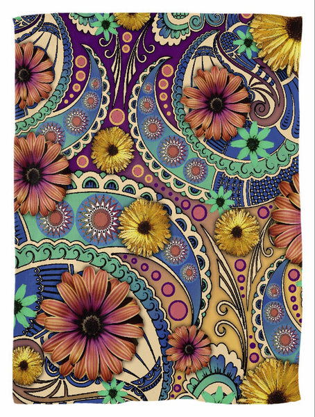 Colorful Daisy Floral Paisley Fleece Blanket - Petals and Paisley - Fleece Blanket - Fusion Idol Arts - New Mexico Artist Christopher Beikmann